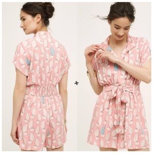 Anthropologie Maeve Tourista Sailboat Pink Romper